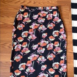 Black and floral pencil skirt